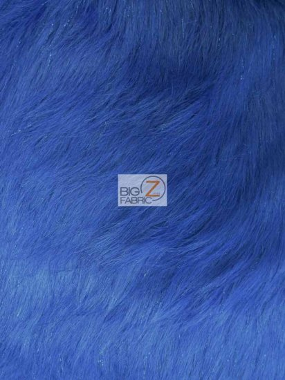 Faux Fake Fur Solid Shiny Tinsel Long Pile Fabric / Royal Blue / Sold By The Yard