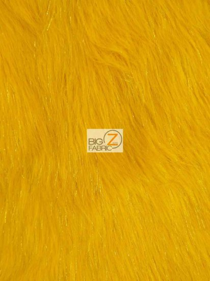 Faux Fake Fur Solid Shiny Tinsel Long Pile Fabric / Yellow / Sold By The Yard