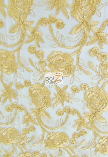 Floral Harmony Lace Mesh Fabric / Gold / Sold By The Yard