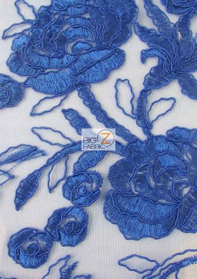 Floral Harmony Lace Mesh Fabric / Royal Blue / Sold By The Yard