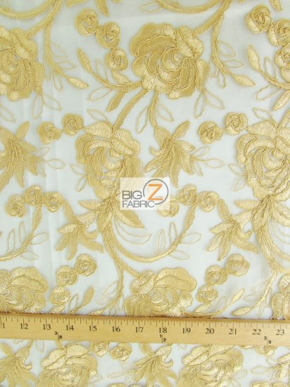 Floral Harmony Lace Mesh Fabric / White / Sold By The Yard