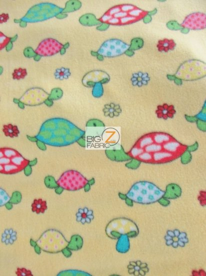Fleece Printed Fabric / Turtles & Mushrooms Yellow / Sold By The Yard