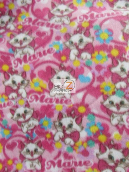 Fleece Printed Animal Fabric Cat / I Love Marie / Sold By The Yard