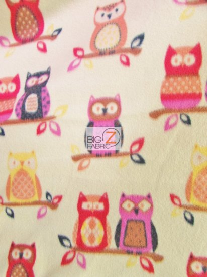 Fleece Printed Animal Fabric / Owl\'s Night Out Ivory / Sold By The Yard