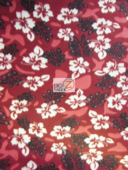 Fleece Printed Fabric / A Hawaiian Thing Floral Burgundy / Sold By The Yard