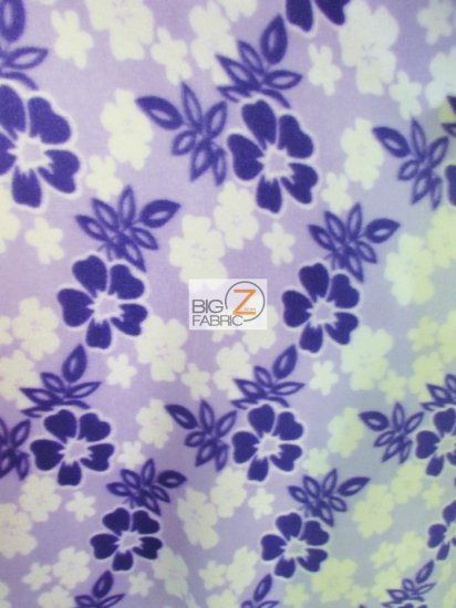 Fleece Printed Fabric / Hawaiian Nights Floral Lavender / Sold By The Yard