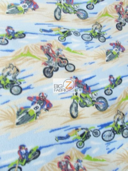 Fleece Printed Fabric / Mountain Motocross Dirt Bikes / Sold By The Yard
