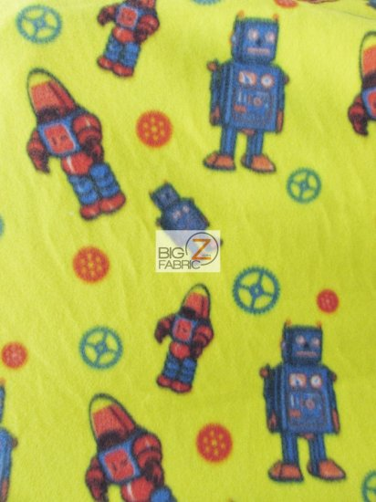 Fleece Printed Fabric / World Of Robots Yellow / Sold By The Yard