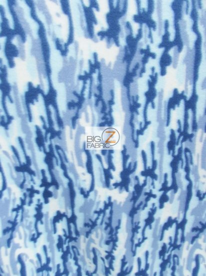Fleece Printed Fabric / Army Camouflage Glacier / Sold By The Yard