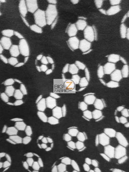 Fleece Printed Fabric / Soccer Balls Black / Sold By The Yard