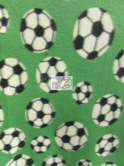 Fleece Printed Fabric / Soccer Balls Green / Sold By The Yard