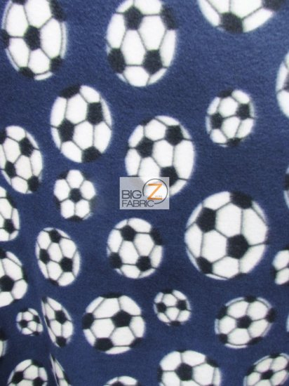 Fleece Printed Fabric / Soccer Balls Navy Blue / Sold By The Yard