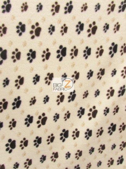 Fleece Printed Fabric / Paw Print Toss Cream/Brown / Sold By The Yard