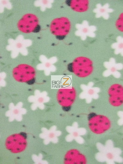 Fleece Printed Fabric Lady Bug / Green / Sold By The Yard
