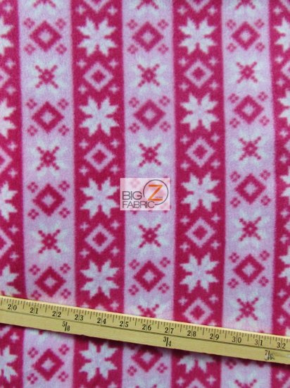 Fleece Printed Fabric Native Indian Aztec / Diamond Stars Pink / Sold By The Yard