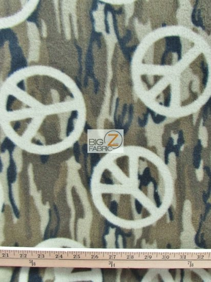 Fleece Printed Fabric Peace / Peace Camouflage / Sold By The Yard