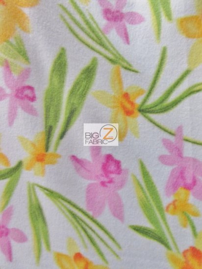 Fleece Printed Fabric Flower / Spring Floral Rosette / Sold By The Yard