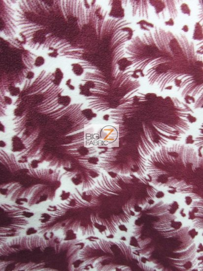 Fleece Printed Fabric Animal Leopard / Hurricane Burgundy / Sold By The Yard