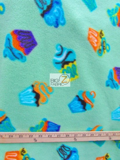 Fleece Printed Fabric / Cupcakes All Over Mint / Sold By The Yard