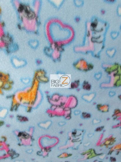 Fleece Printed Fabric / Love Animals / Sold By The Yard