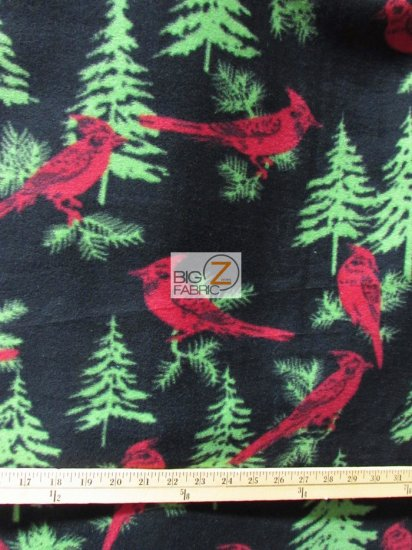 Fleece Printed Fabric / Pine Cardinals / Sold By The Yard