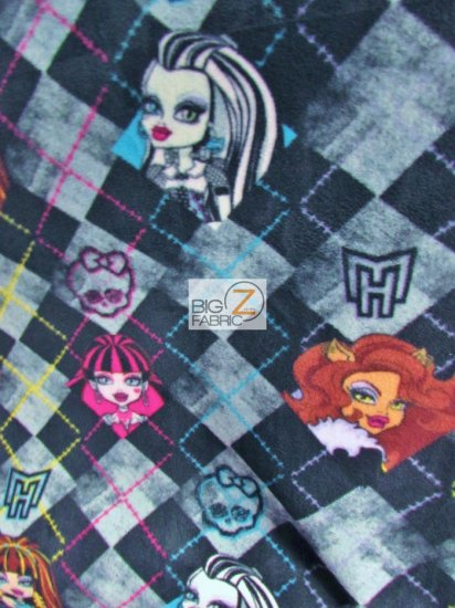David Textiles Fleece Printed Fabric / Monster High Checkered Black/Gray / Sold By The Yard