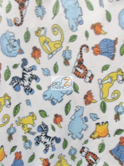 Fleece Printed Fabric / Imaginary Zoo Animals / Sold By The Yard