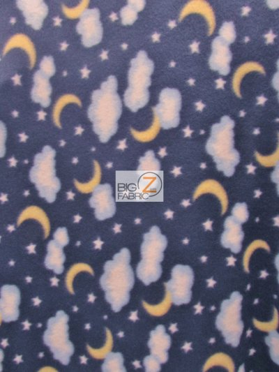 Fleece Printed Fabric / Moon Clouds / Sold By The Yard