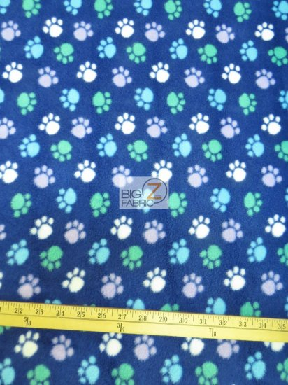 Fleece Printed Fabric / Paw Multi Color Blue / Sold By The Yard