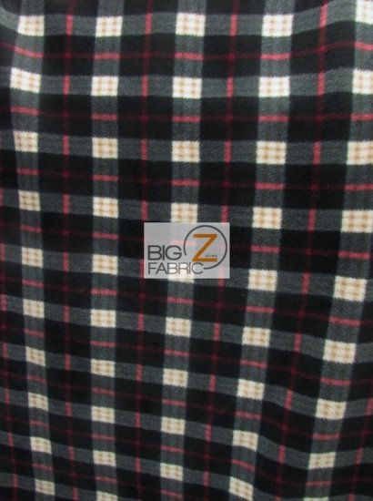 Fleece Printed Fabric / Checkered Plaid Black/Red/White / Sold By The Yard