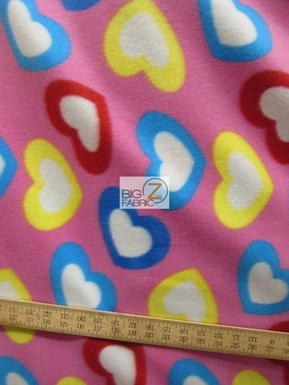 Fleece Printed Fabric Love Heart / Colorful Hearts / Sold By The Yard