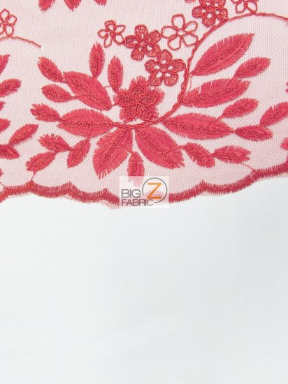 Floral Magnolia Evening Sequins Fabric / Red / Sold By The Yard