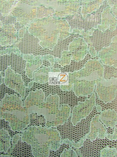 Floral Metallic Glitter Mesh Lace Fabric / Aqua / Sold By The Yard