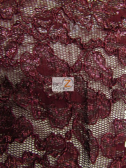 Floral Metallic Glitter Mesh Lace Fabric / Burgundy / Sold By The Yard