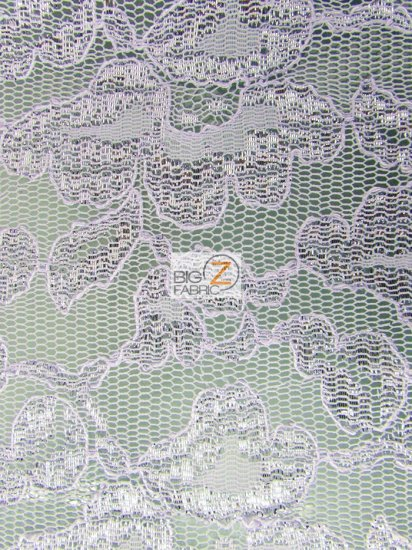 Floral Metallic Glitter Mesh Lace Fabric / Lavender Silver / Sold By The Yard