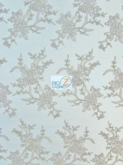 Floral Embroidery Master Lace Fabric / Stone / Sold By The Yard