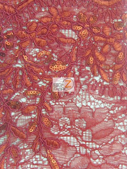Floral New York Fashion Sequins Fabric / Red / Sold By The Yard