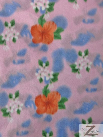 Fleece Printed Fabric Flower / Pink Blossom / Sold By The Yard