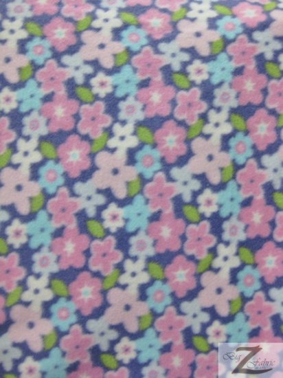 Fleece Printed Fabric Flower / Sweet Pea / Sold By The Yard