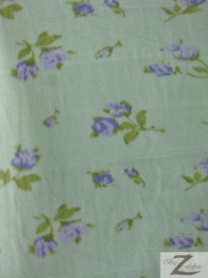 Fleece Printed Fabric Flower / Tiffany Green Roses / Sold By The Yard