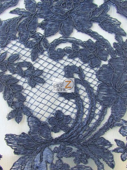 Forbidden Primrose Floral Mesh Lace Fabric / Navy Blue / Sold By The Yard
