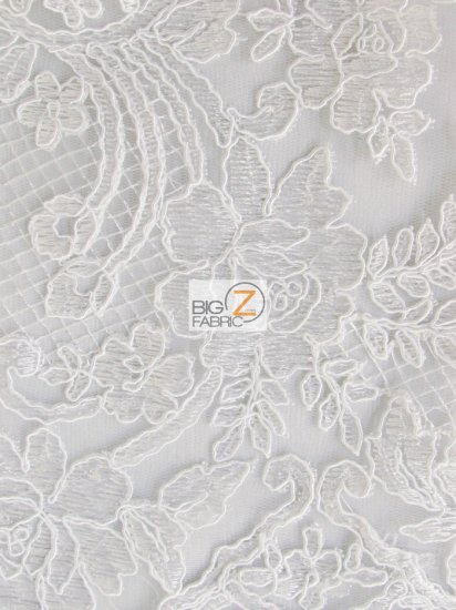 Forbidden Primrose Floral Mesh Lace Fabric / White / Sold By The Yard