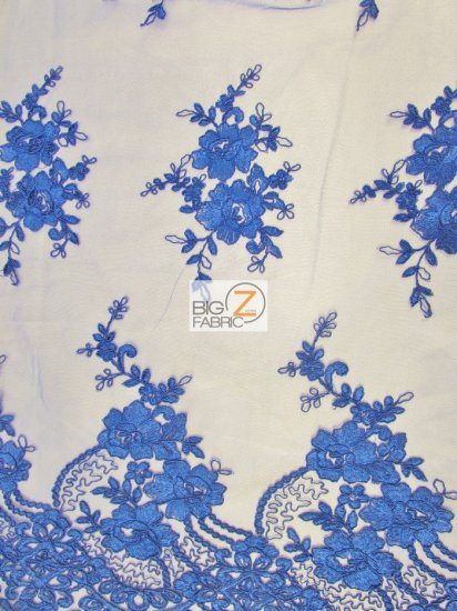 Floral Princess Mesh Lace Fabric / Royal Blue / Sold By The Yard