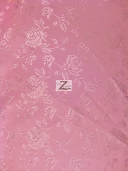 Floral Rose Jacquard Satin Fabric / Dark Pink / Sold By The Yard