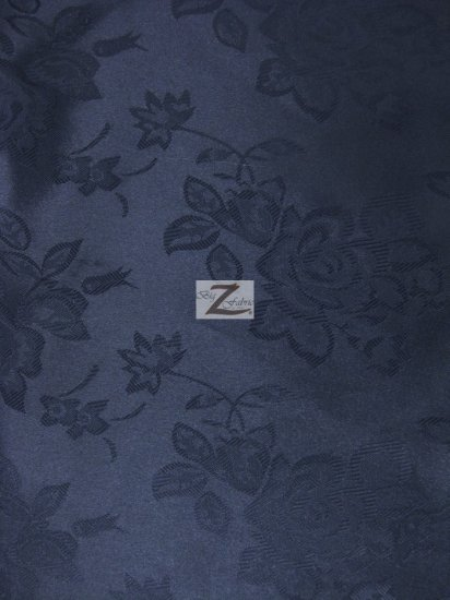 Floral Rose Jacquard Satin Fabric / Navy / Sold By The Yard