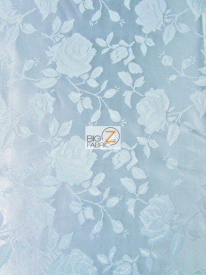 Floral Rose Jacquard Satin Fabric / Baby Blue / Sold By The Yard