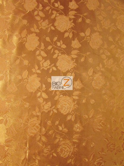Floral Rose Jacquard Satin Fabric / Cinnamon / Sold By The Yard