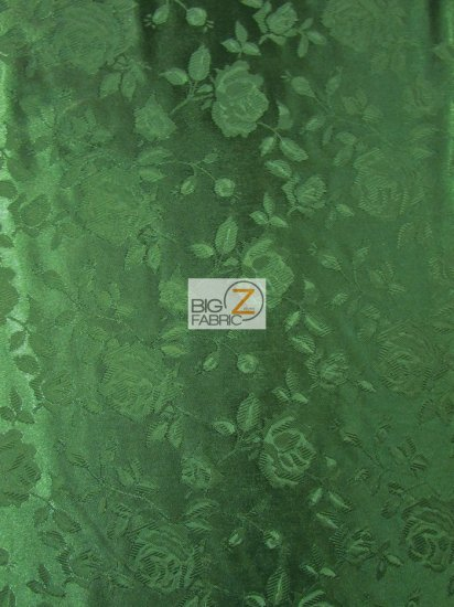 Floral Rose Jacquard Satin Fabric / Hunter Green / Sold By The Yard