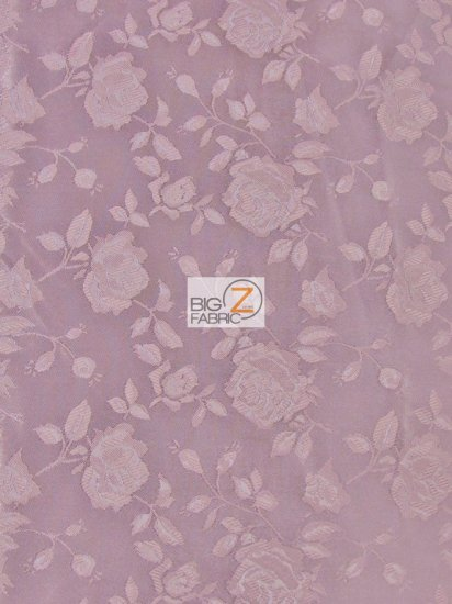 Floral Rose Jacquard Satin Fabric / Mauve / Sold By The Yard