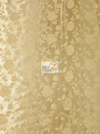 Floral Rose Jacquard Satin Fabric / New Gold / Sold By The Yard